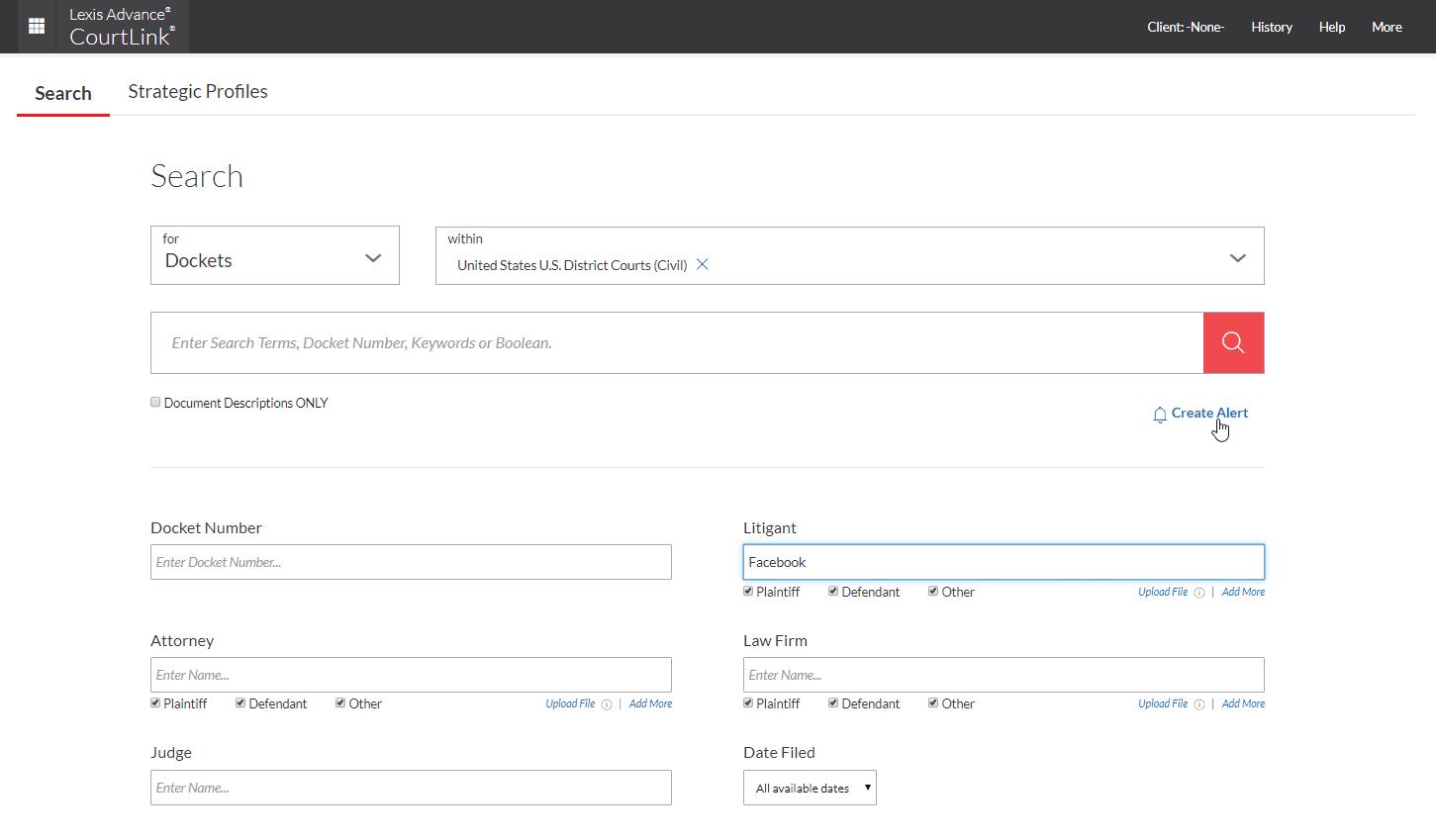 Docket search screen; image courtesy LexisNexis.