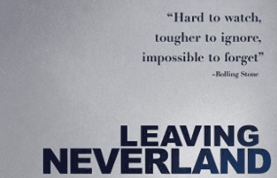 """Leaving Neverland"" movie poster; image via Wikipedia Commons, public domain, cropped for size."