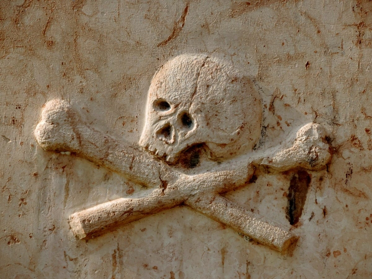 A medieval-looking skull and crossbones, carved into light-colored stone.
