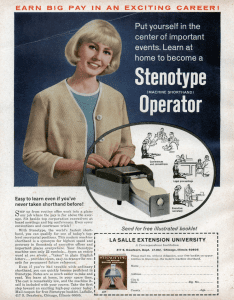 Old ad for training as a stenotype operator; image by employees of LSEU, public domain.