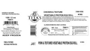 Label of recalled egg roll products