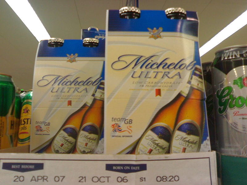 Michelob Ultra on a supermarket shelf