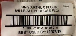 Recalled King Arthur Flour Label