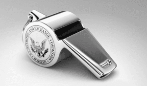 "A silver whistle with ""Securities and Exchange Commission"" printed on one side; image via U.S. SEC Office of the Whistleblower, public domain."