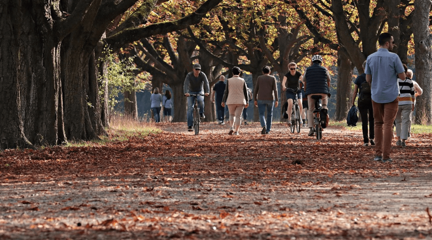 Fall scene, orange leaves on trail with people biking and walking; image by Pixel2013, via Pixabay.com.