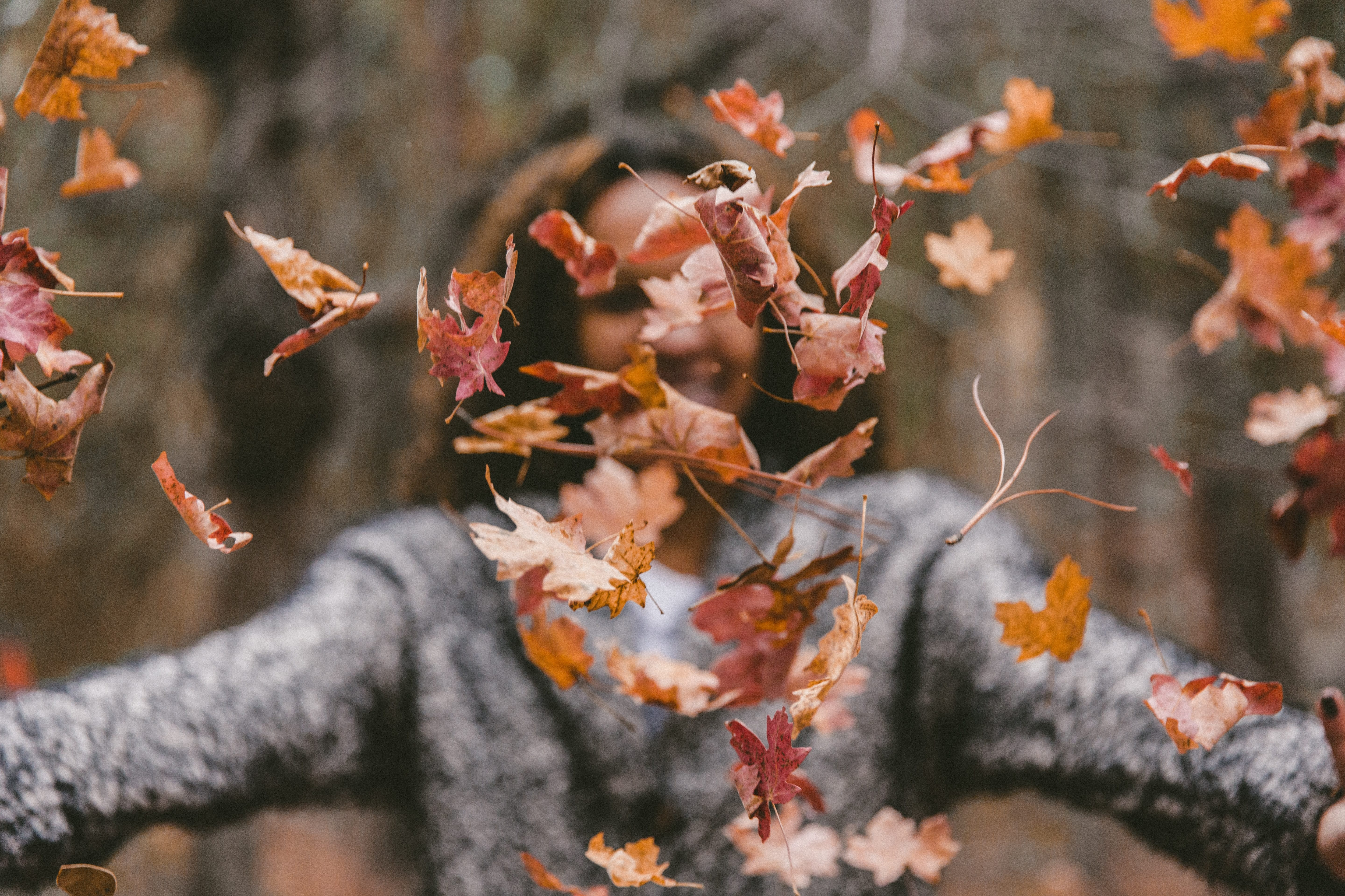Woman in grey sweater throwing orange leaves in the air; image by Jakob Owens, via Unsplash.com.