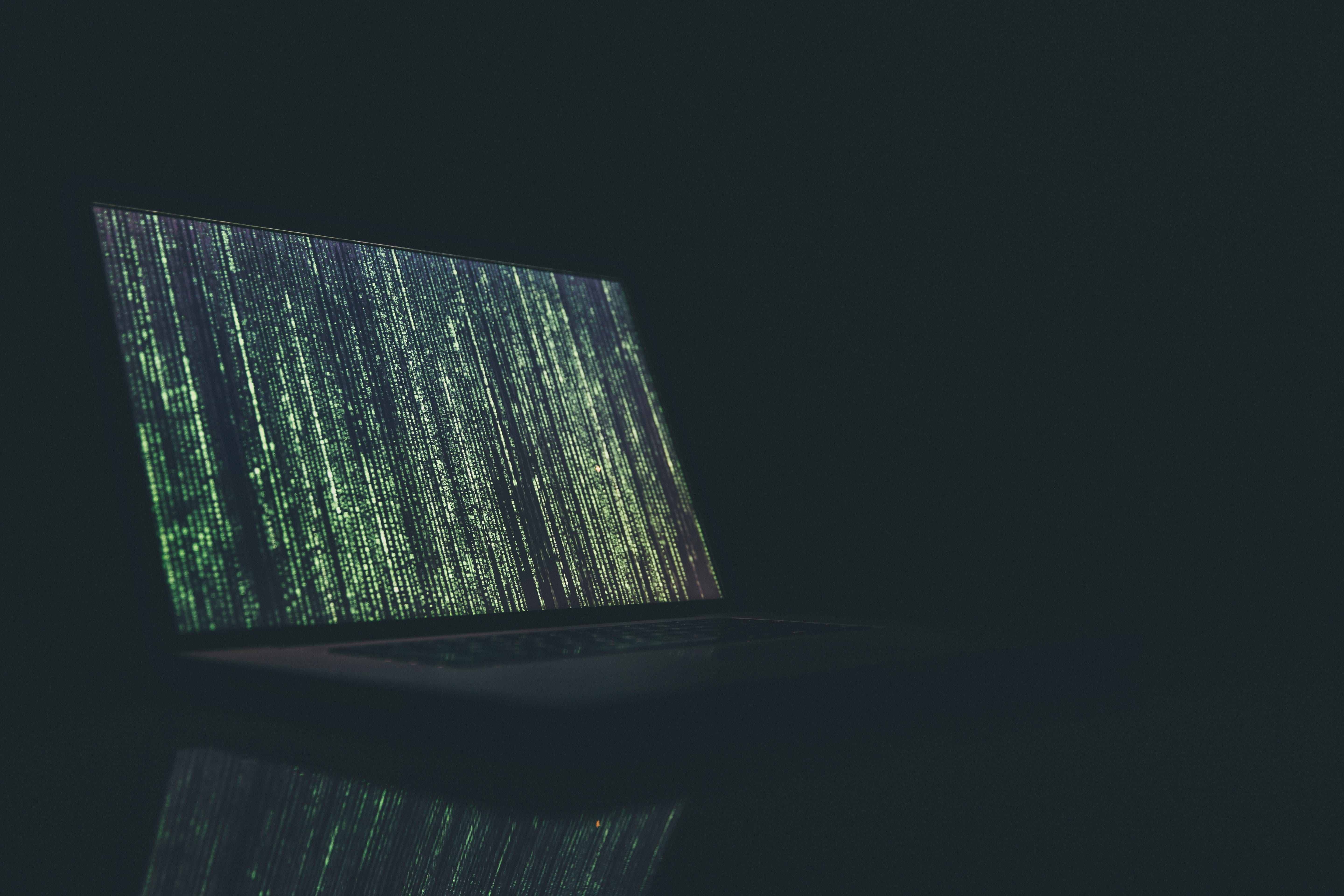 Black and gray laptop computer turned on, rows of data onscreen; image by Markus Spiske, via Unsplash.com.