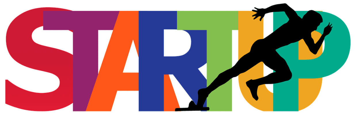 "The word ""Startup"" in all capital letters of different colors, with the silhouette of a man starting to run; image by Geralt, via Pixabay.com."