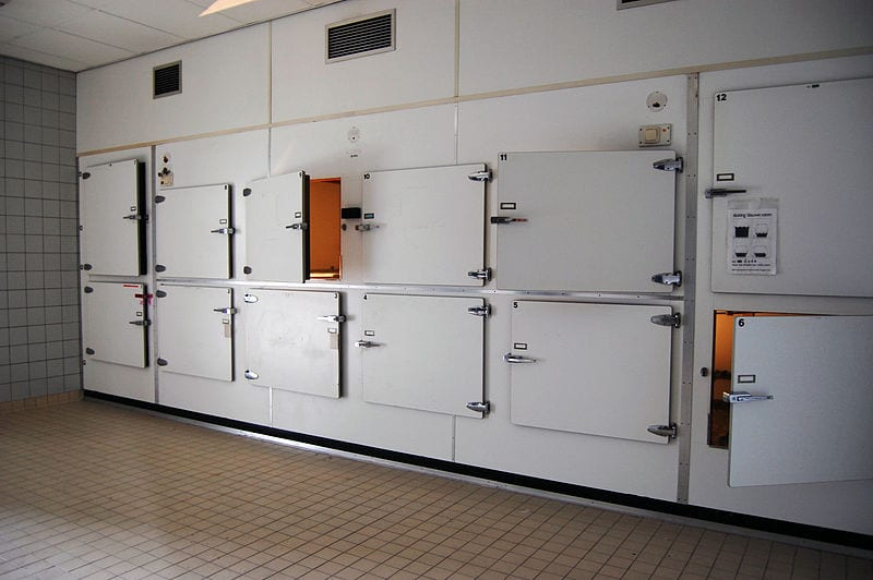 Inside view of a morgue