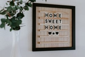 Brown home sweet home wall frame; image by Julie Hochgesang, via Unsplash.com.