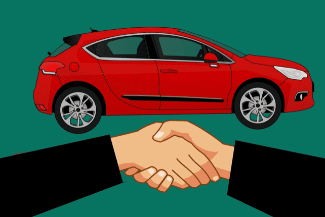 Graphic depicting a handshake under a red car; image by Mohamed Hassan, via Pixabay.com.