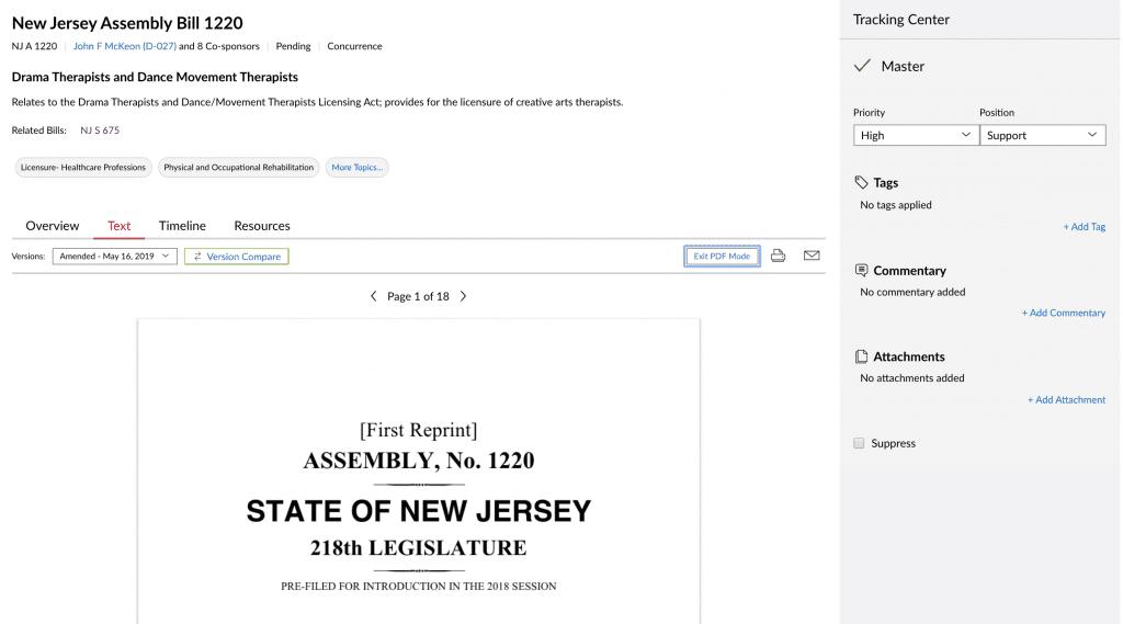 State Net Reading; image courtesy of LexisNexis.