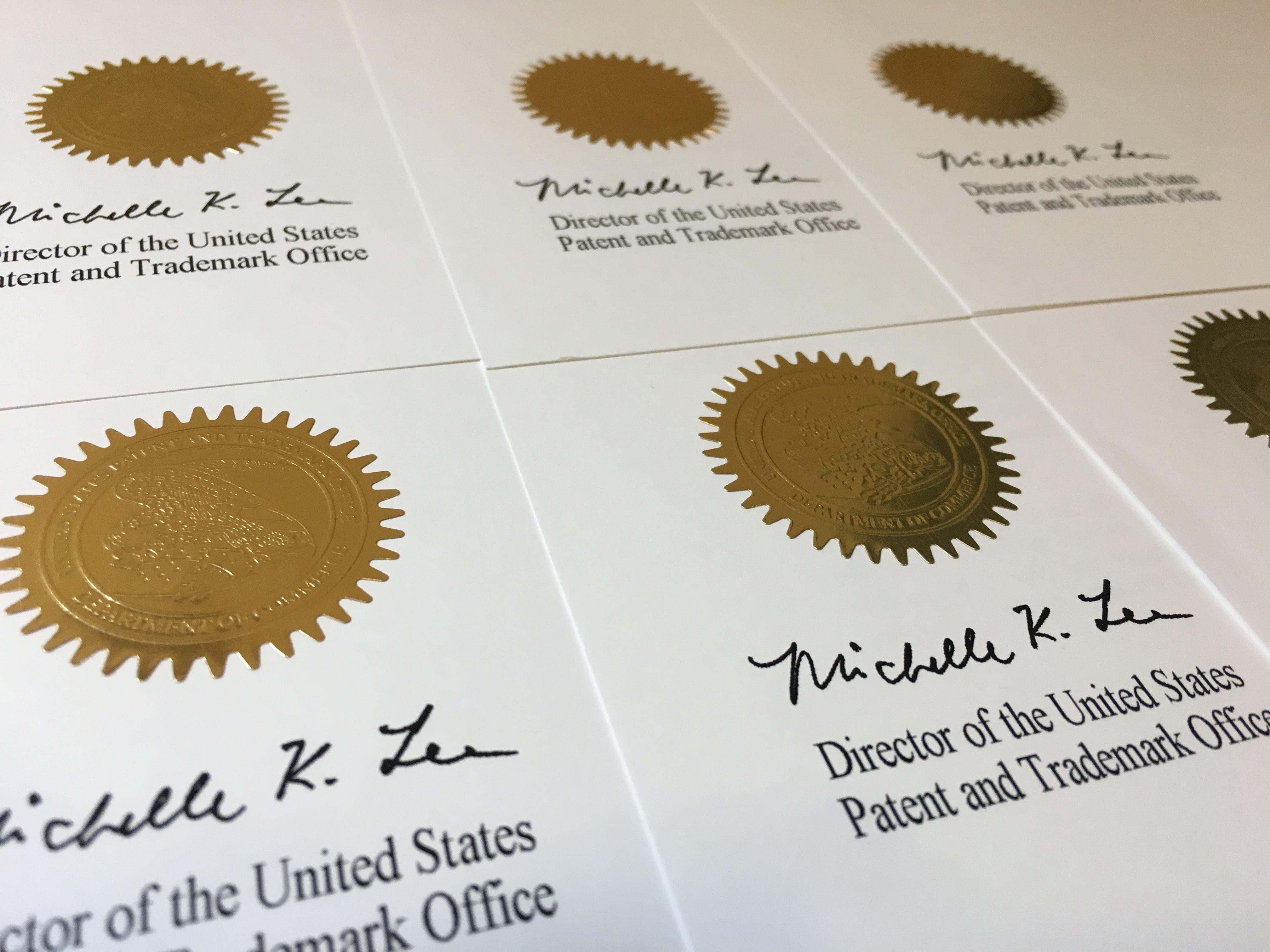 Samples of official registered trademark seals; image by MyBrandMark.com, via Pixels.com.
