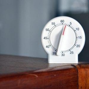 Black and white analog egg timer; image by Marcelo Leal, via Unsplash.com.