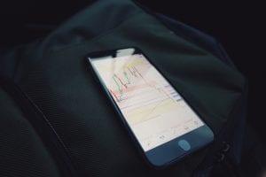 Turned on black iPhone 7; image by Mark Finn, via Unsplash.com.