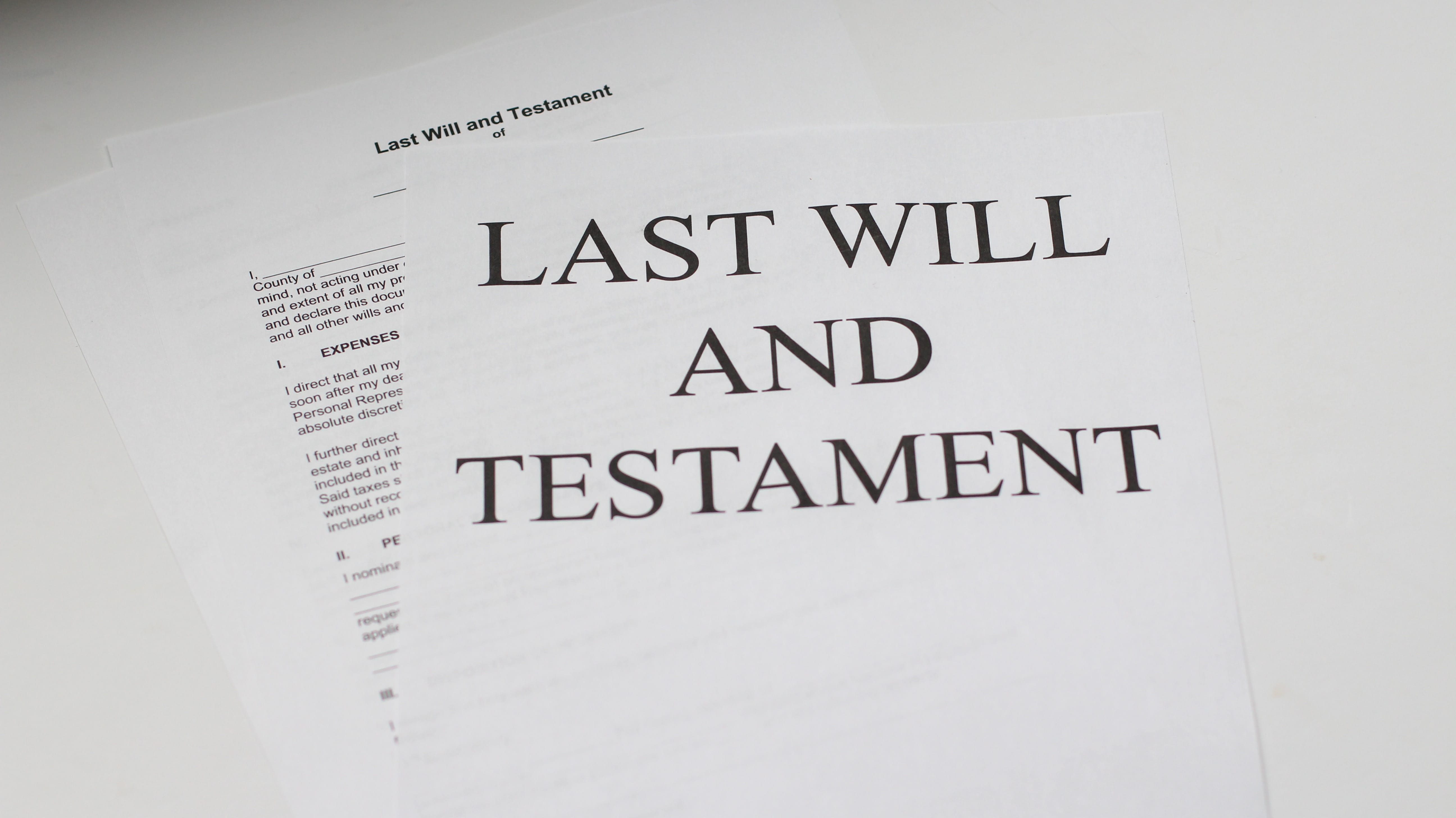 "White paper with ""Last Will & Testament"" printed on it; image by Melinda Gimpel, via Unsplash.com."