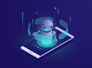 Artificial intelligence, isometric AI robot on mobile phone screen; image by Fullvector, via Freepik.com.