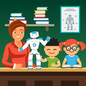 Students learning with teacher and robot; image by Iconicbestiary, via Freepik.com.