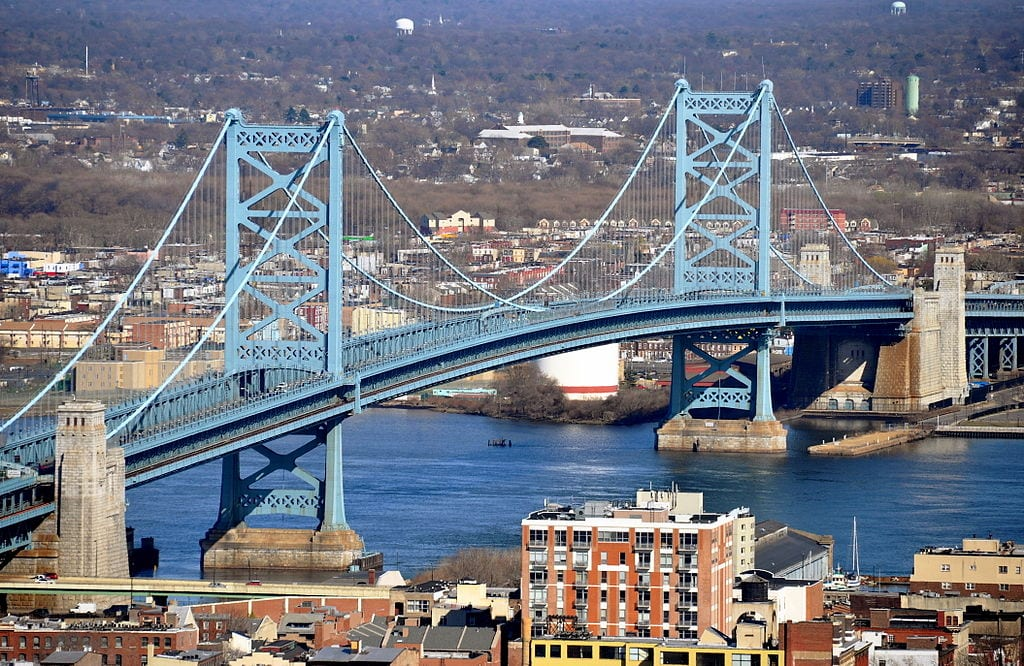 The Benjamin Franklin Bridge is the oldest of the four vehicular bridges connecting Philadelphia to South Jersey