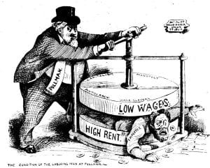 Black and white political cartoon showing a worker being squeezed between low wages and high rent.