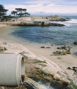 Urban runoff being discharged to coastal waters