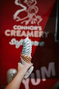 Connor's Creamery ice cream cone; image by Christin Hume, via Unsplash.com.
