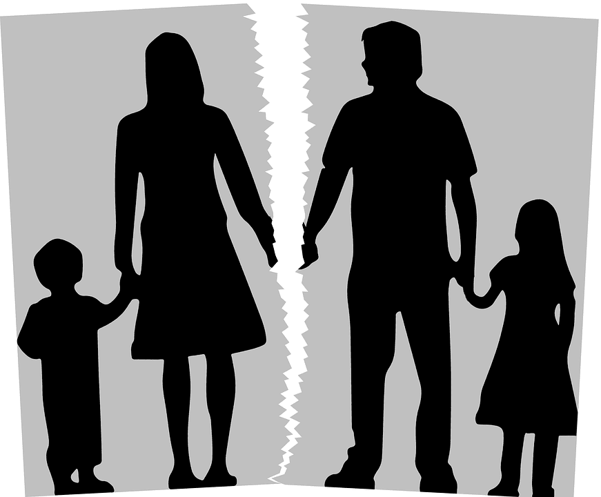 Graphic of family photo torn in two, mom and son on one side, dad and daughter on the other; graphic by Tumisu, via Pixabay.com.