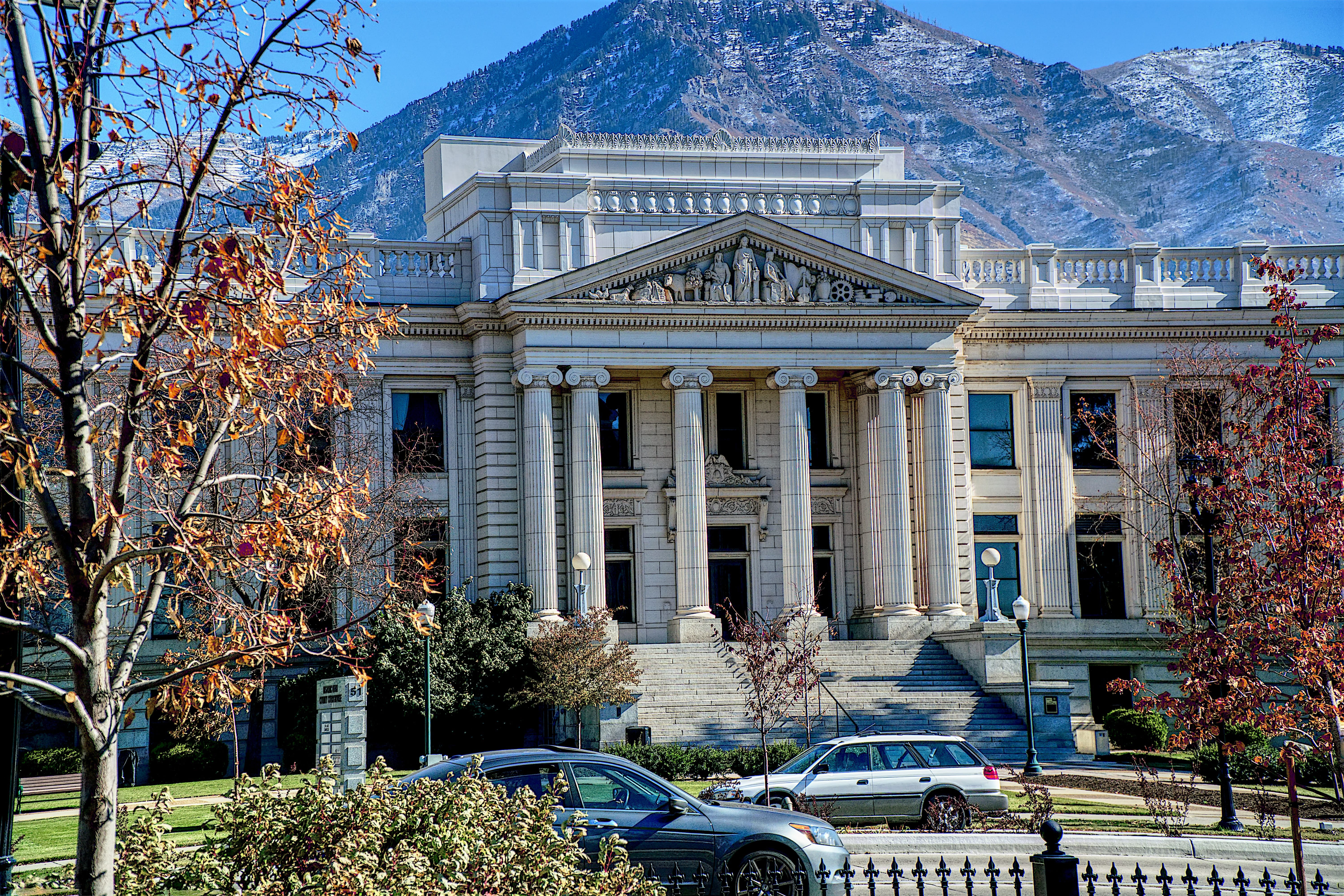 Started in 1919 and completed in 1926 at a cost of $576,000 the Utah County Courthouse is an Original Greek design and not a copy of any other structure. Image by Michael Hart, via Unsplash.com.