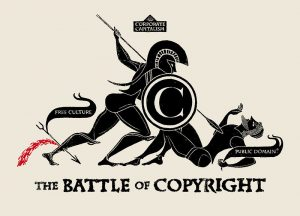This illustration is an allegory of the battle between the old world of corporate monopolies and post-internet public domain for the extension of intellectual property rights. Image by Christopher Dombres, via flickr.com, public domain.