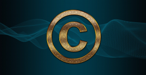 Copyright symbol in gold on a blue background with a wavy design; image by TheDigitalArtist, via Pixabay.com.