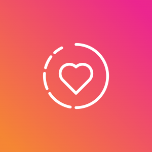 """Graphic showing Instagram """"stories"""" icon with heart in the center; graphic by RaphaelSilva, via Pixabay.com."""
