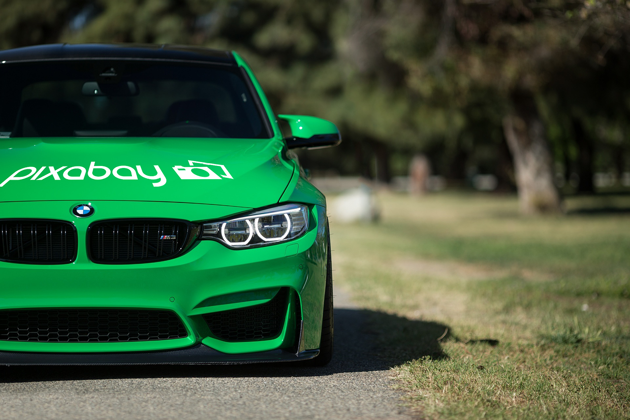 "Bright green BMW with ""Pixabay"" on the hood; image by EliElschi, via needpix.com, CC0 public domain."