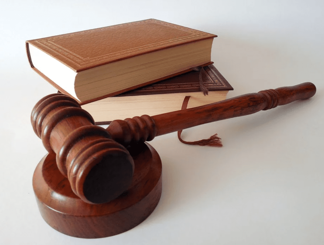 Gavel and law books; image by Succo, via Pixabay.com.