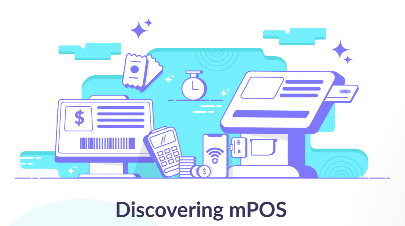 """Graphic """"Discovering mPOS"""" with various electronic devices used as payment methods. Graphic courtesy of Scalefusion."""