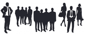 Graphic featuring silhouettes of businesspeople; graphic by DeeMar, via Pixabay.com.