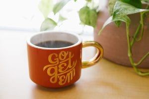 "Orange and white ceramic mug with ""Go Get 'Em"" written on it near green leaf plant with brown pot; image by Kyle Glenn, via Unsplash.com."