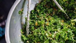Salad in metal bowl with tongs; image by Dan Gold, via Unsplash.com.