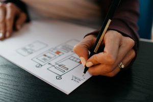 UX Work: Woman's hands drawing a wireframe; image by Kelly Sikkema, via Unsplash.com.