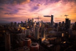 Toronto at sunset; image by Syed Ahmed, via Unsplash.com.