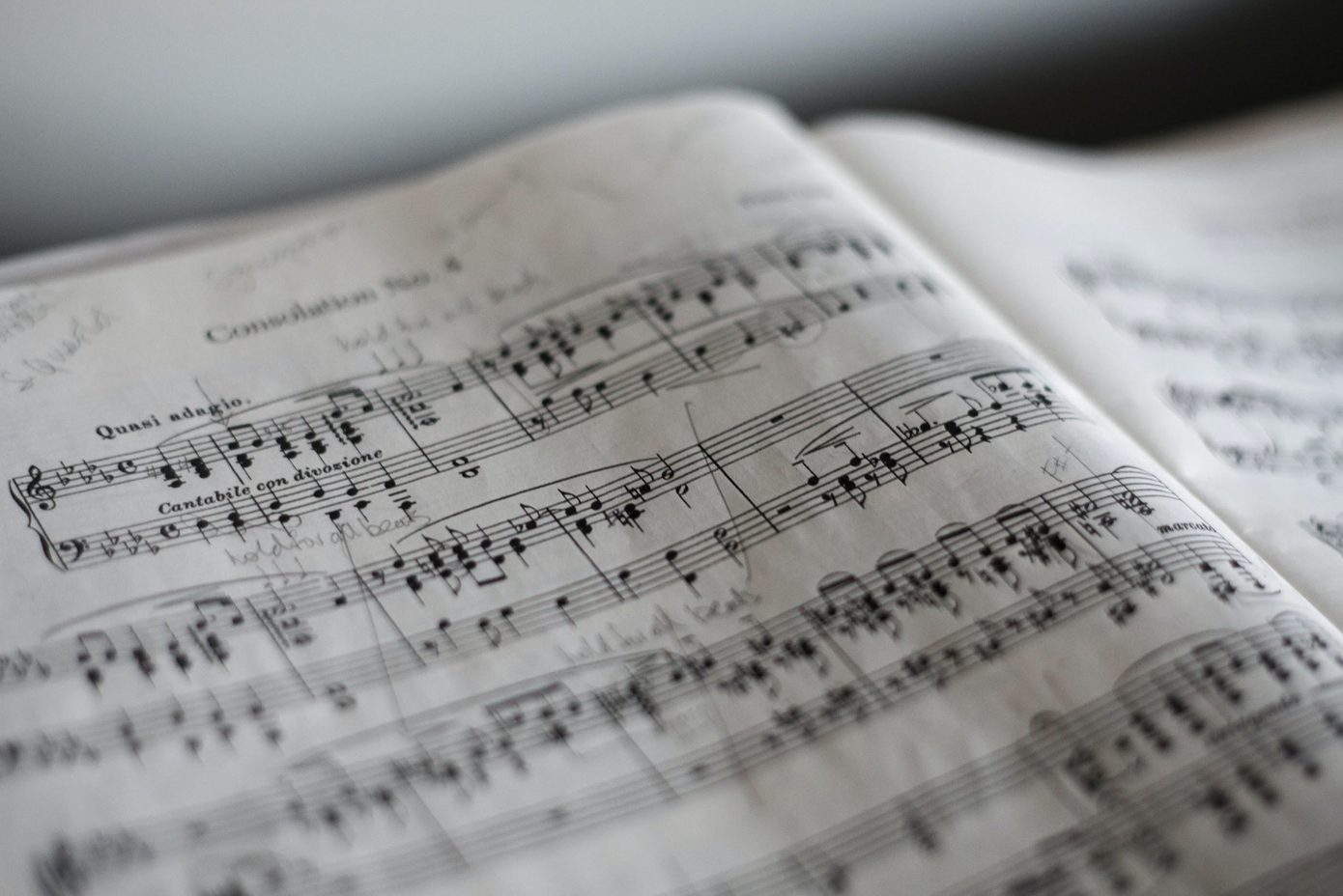 Sheet music; image by Marius Masalar, via Unsplash.com.