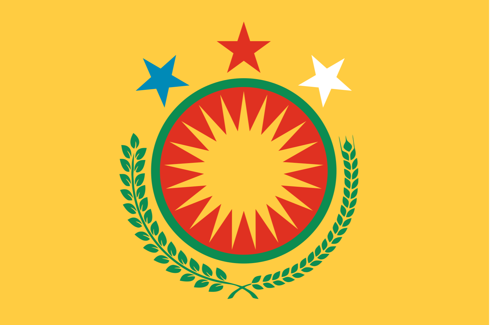Diplomatic flag of Northern Syria; image by MrPenguin20, via wikipedia.com, public domain.