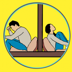 Graphic of man and woman sitting in different rooms, separated by a wall; graphic by Mohamed Hassan, via Pixabay.com.
