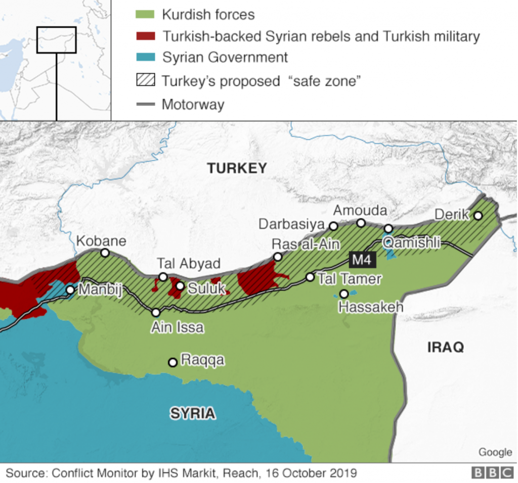 Map 1 – Erdoğan's proposed safe zone; https://www.bbc.com/news/world-middle-east-50117765.