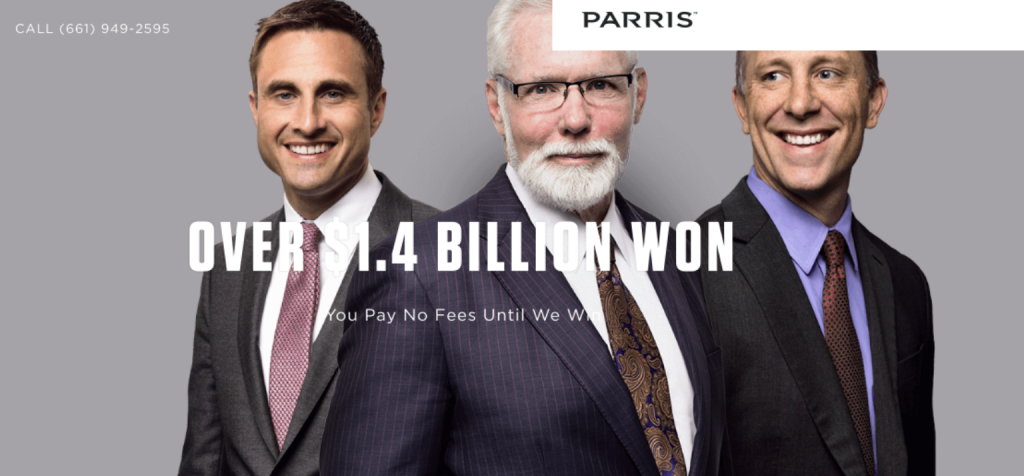 Parris homepage; image courtesy of parrislawyers.com.