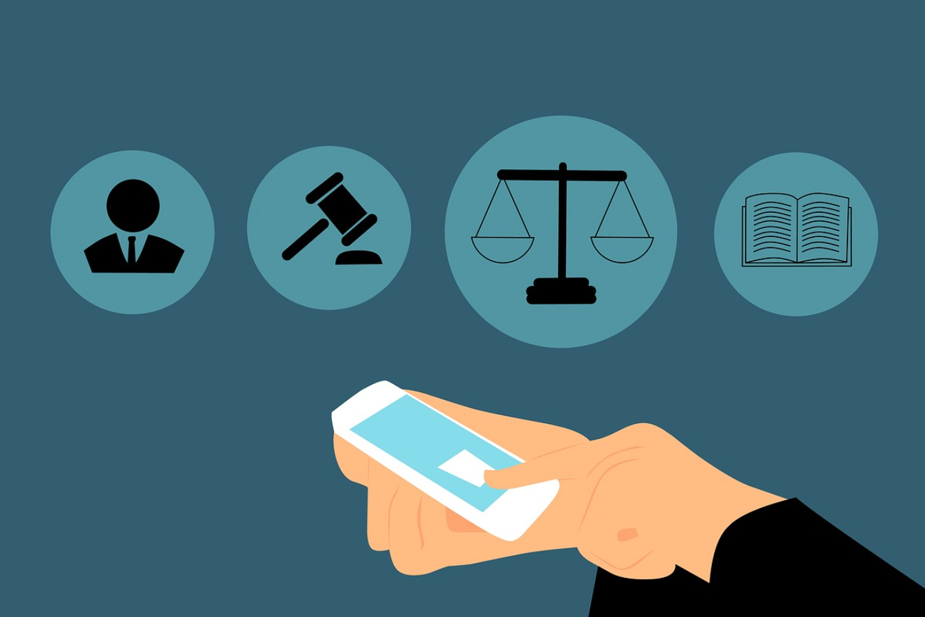 Graphic depicting lawyer holding smartphone, various legal symbols in the air before the the lawyer. Graphic by Mohamed Hassan, via Pixabay.com.