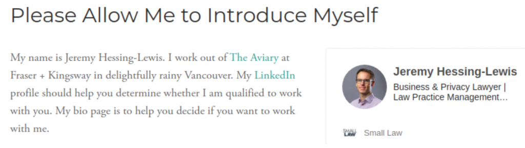 Lawyer introduction page; image courtesy of small.law.