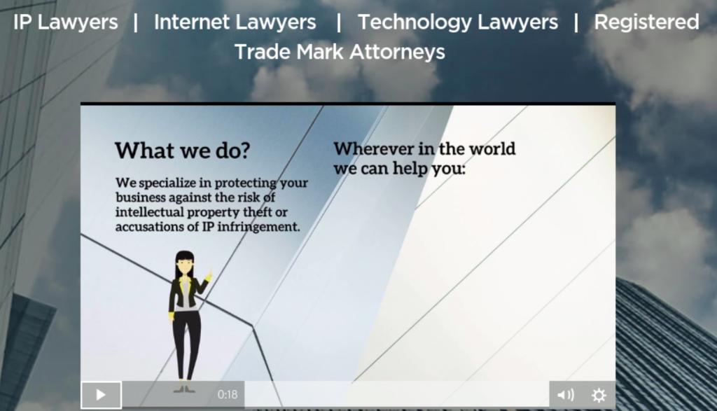 W3IP Law homepage; image courtesy of w3iplaw.com.