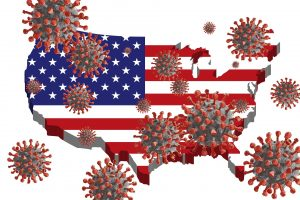 Stylized coronavirus balls raining down on a red, white and blue United States.