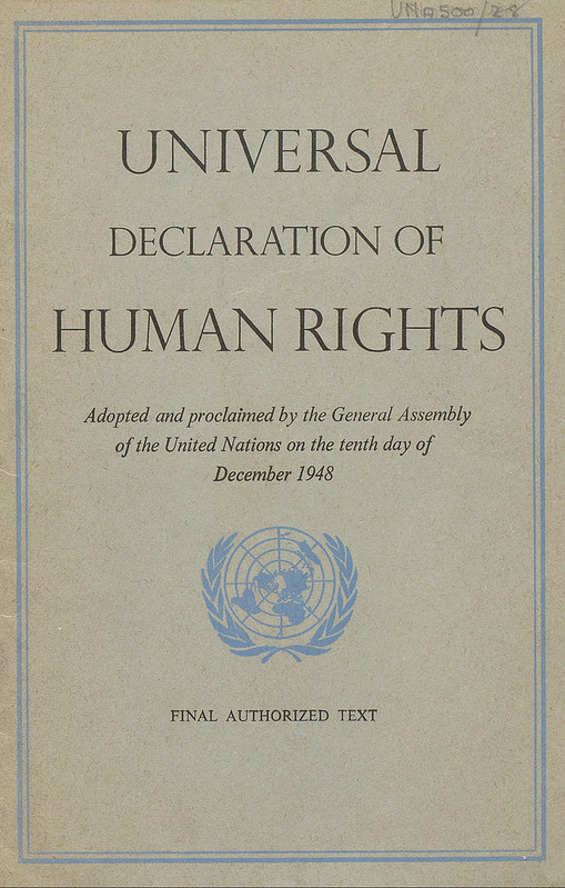 Universal Declaration of Human Rights (1948); image by Thomas Cizauskas, via Flickr, public domain.