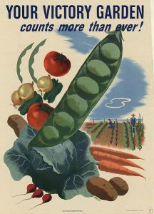 Old-style WWII propaganda poster with images of vegetables. Text reads: Your Victory Garden counts more than ever!